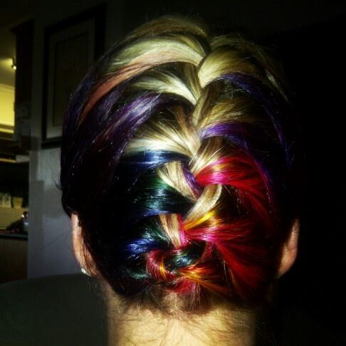 Rainbow Hair In A French Braid Hair Pinterest