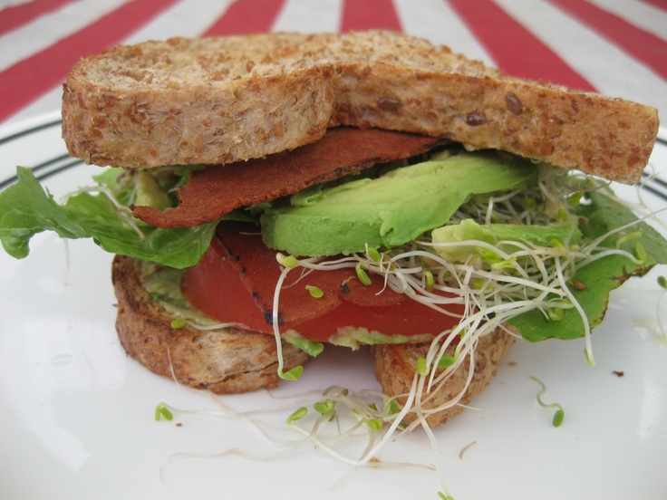 ... bacon, lettuce, avocado, sprouts & tomato) on toasted flaxseed bread