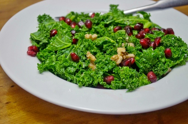 Kale salad with pomegranate and walnuts -- article is review on ...