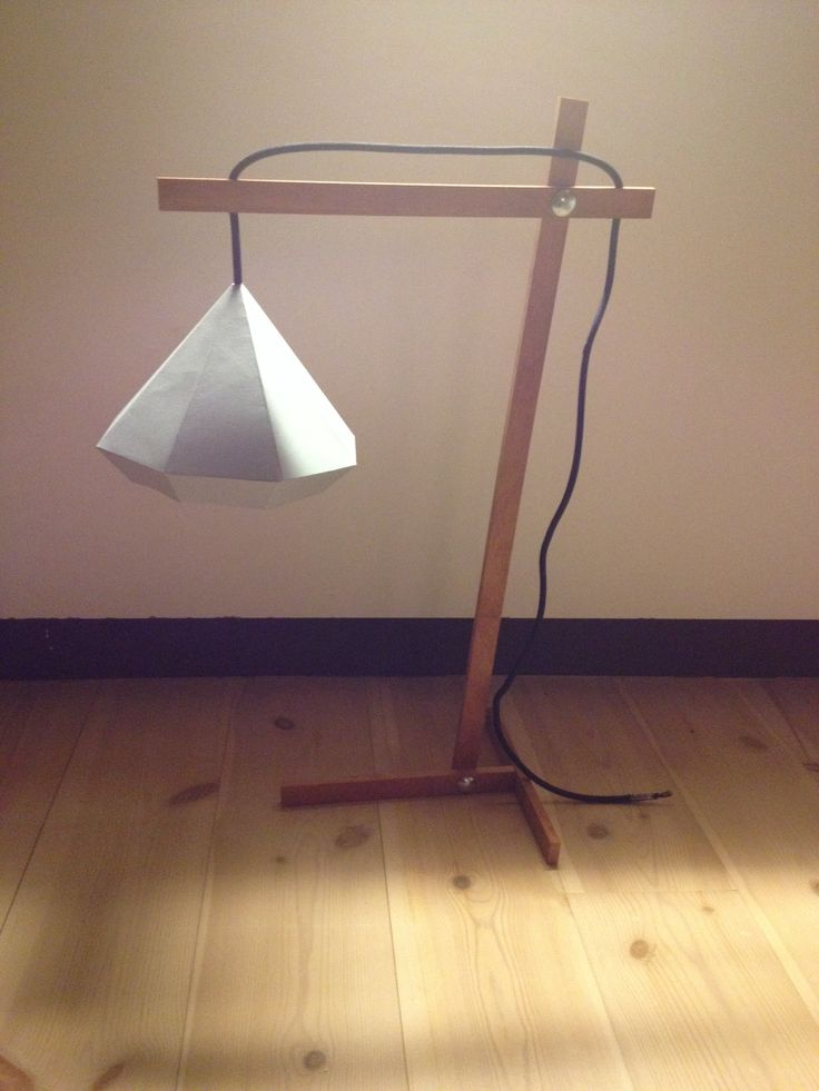 Diy wooden lamp with origami shade cool wood products for Cool diy lamps