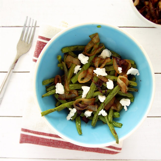 ... Green Beans, Goat Cheese, Salt & Pepper. Roast in oven for 20 minutes