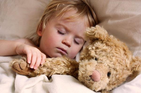 bedtime with teddy bear::
