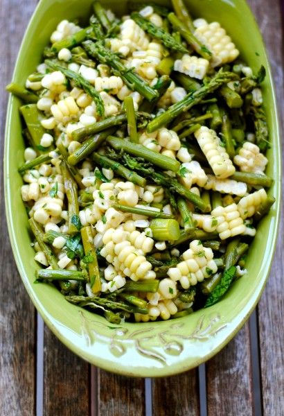 Summer salad. grilled corn and asparagus