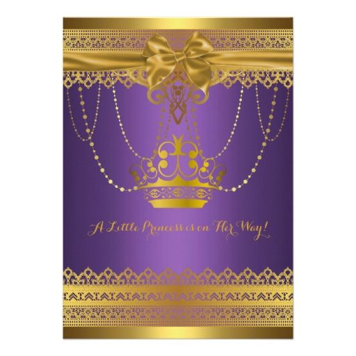 purple and gold crown baby shower invitation