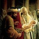 Simeon holding the Christ child...