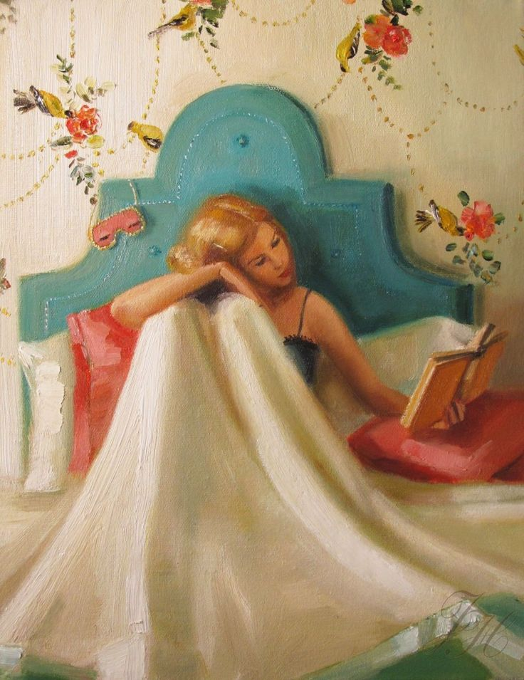 John Gannam illustration.  I luv how she has the Holly Golightly sleeping mask (in pink!) hanging from her headboard.