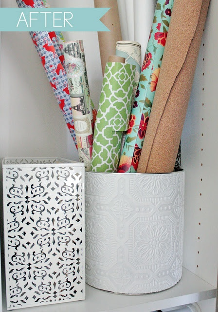 DIY Gift Wrap Storage from a popcorn tin
