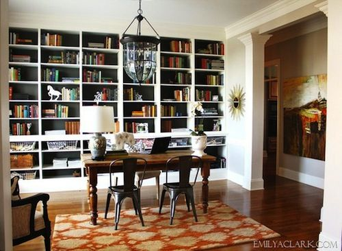 dining room office wall of bookcases interior decor