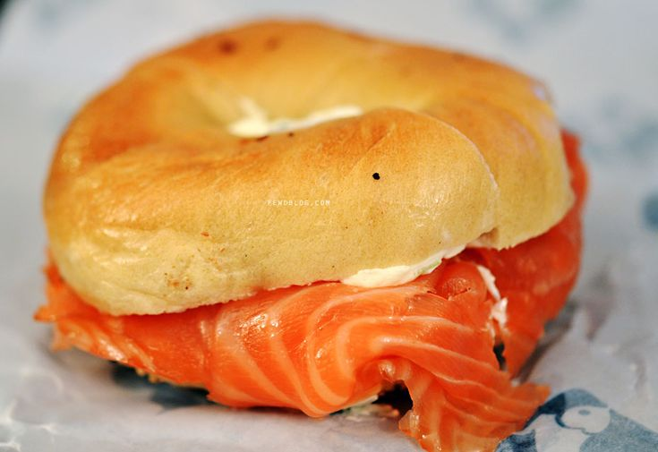 smoked salmon and cream cheese bagels for breakfast. Making me sooo ...