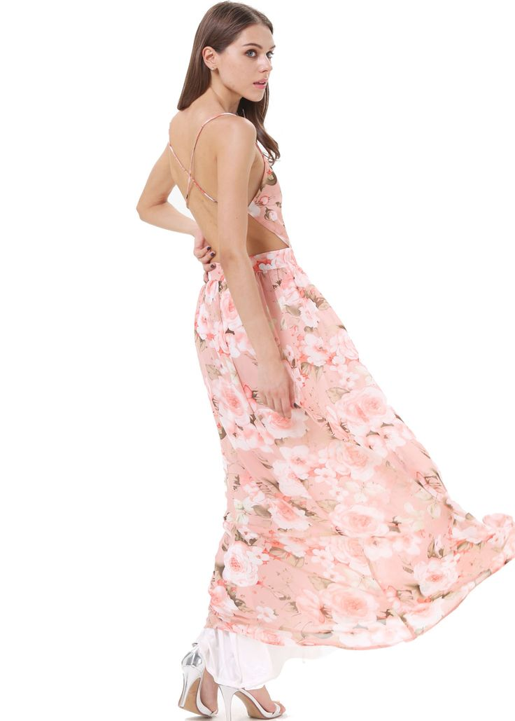 Open Back Floral Maxi Dress