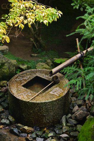 Stone water basin japanese garden bamboo pinterest - Japanese garden water basin ...