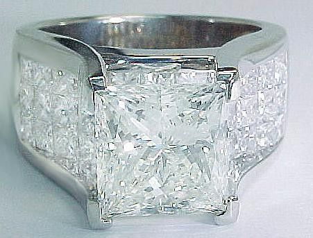 Square Cut Diamond with Square Cut Pave Sides Ring
