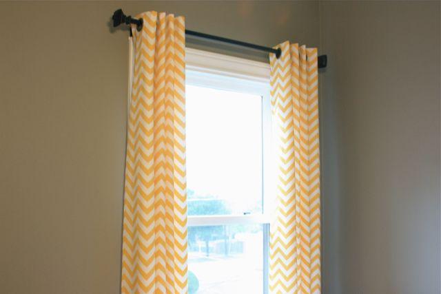 Yellow chevron curtains grey walls dupuy home ideas pinterest