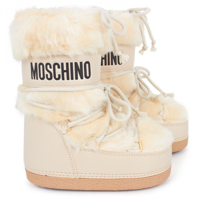 Moschino beige fur snow boots it s snow time pinterest