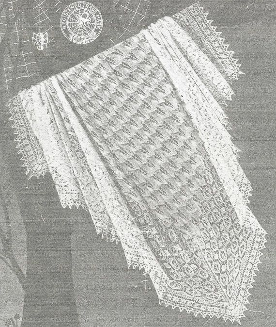 Vintage Shawl Knitting Patterns : Spider 182 baby christening shawl vintage knitting pattern PDF