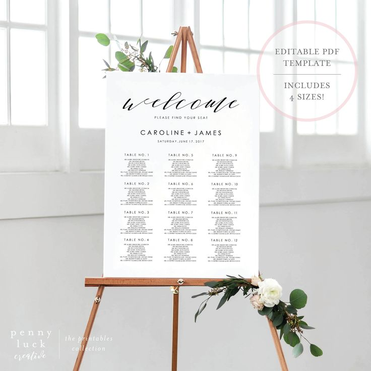 Free wedding seating chart poster template