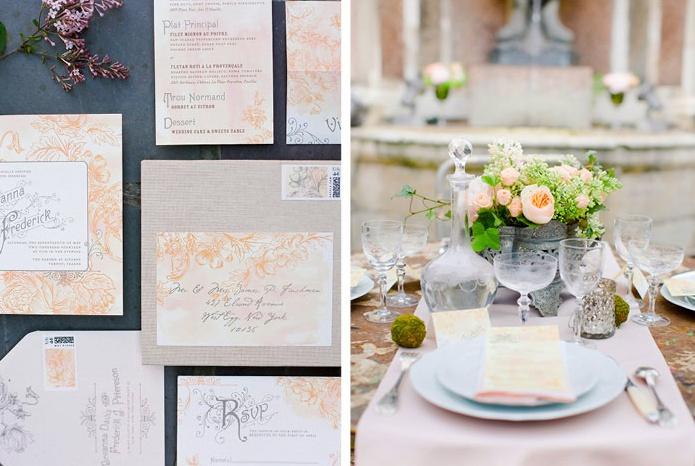 Peach Invitations & Wedding Reception Table
