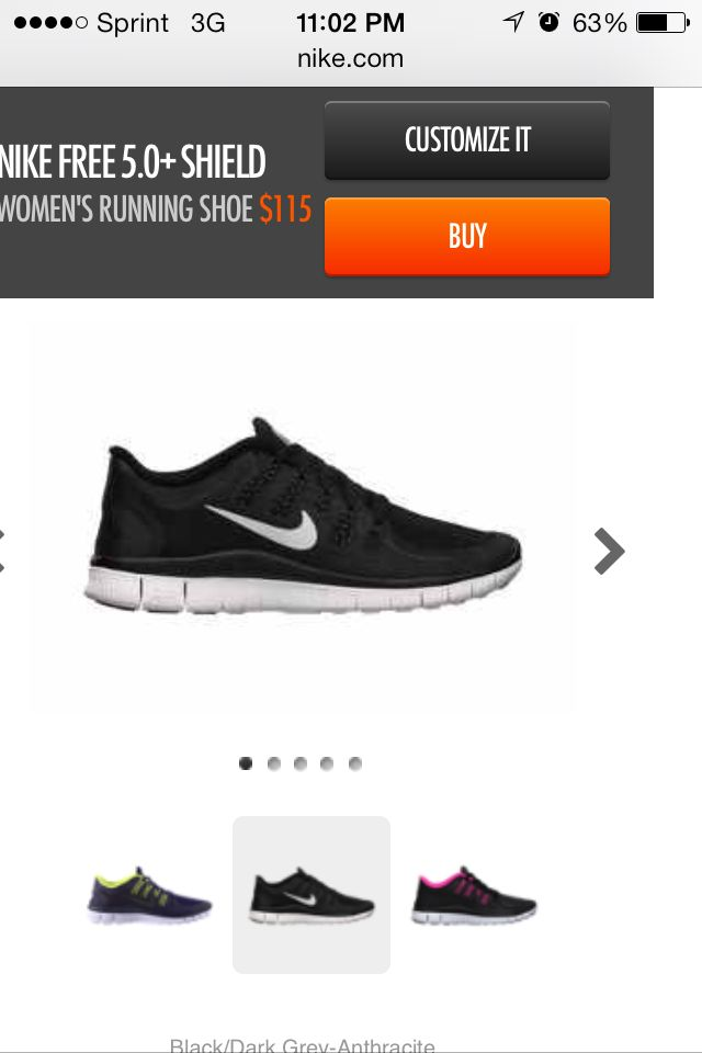 Black nike women's running shoes 7.5
