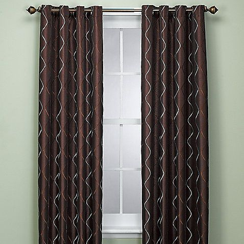 Delano 72 inch window panel in chocolate curtains - Brown and light blue curtains ...