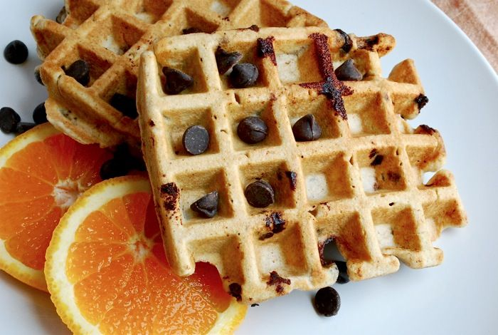 Whole Wheat Chocolate Chip Waffles...Totally making these this weekend ...