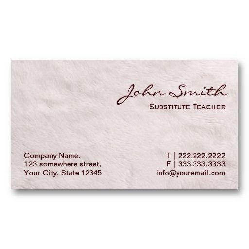 White fur substitute teacher business card substitute for Substitute teacher business card
