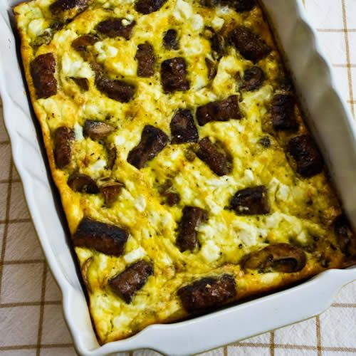 Sausage, Mushrooms, and Feta Baked with Eggs; this is a recipe I got ...