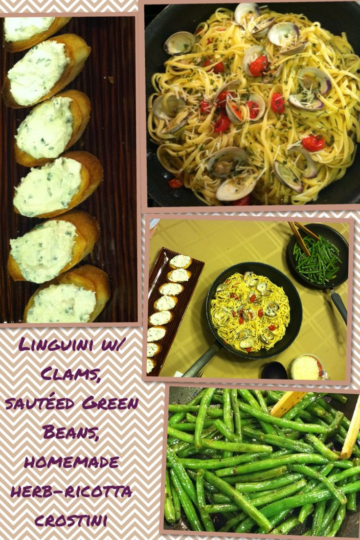 ... and tomatoes sautéed green beans homemade fresh herb ricotta crostini