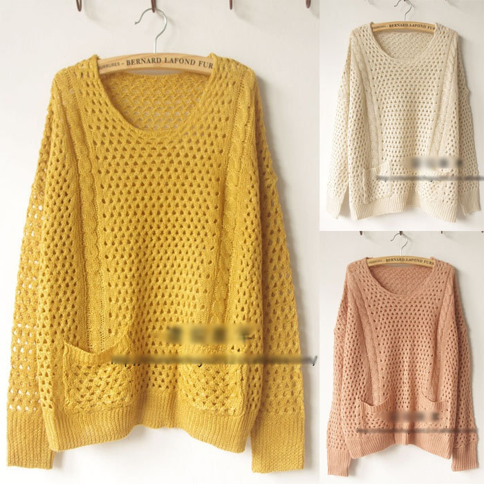 ... Batwing Hollow Round Neck Knits Pullover Jumper Casual Sweater Phh
