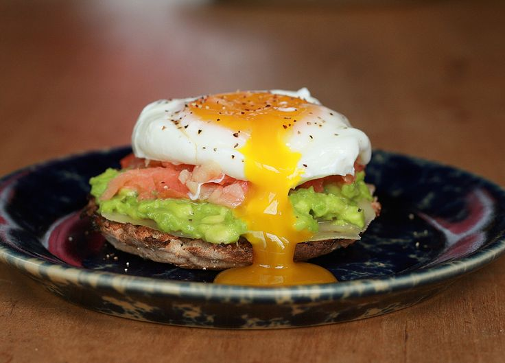 Poached eggs (or fried), avocado, & smoked salmon on english muffins