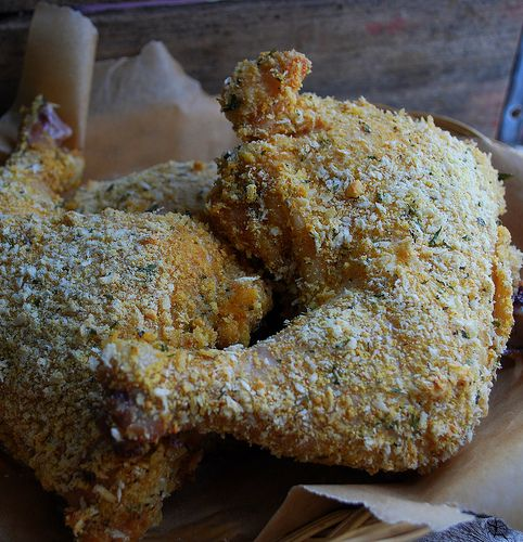baked chicken legs.here's my secret. Sub some instant potato flakes to ...