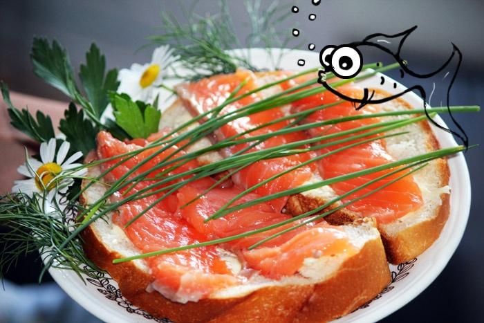 Citrus-Cured Salmon, delicious snack recipe, cute illustration