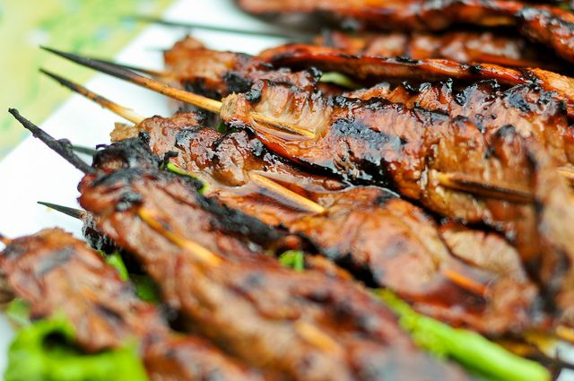 for grilled beef teriyaki skewers with ramps or scallions grilled ...