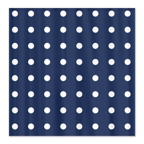 Polka Dots Navy Shower Curtain On