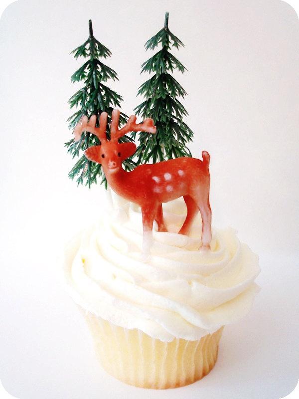 12 Vintage Deer Cupcake Toppers Reindeer Cake Decorations