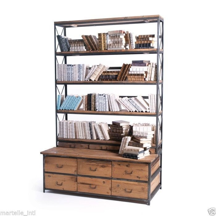 Bookcase Display Cabinet Industrial Mercantile Style New Free Shipping