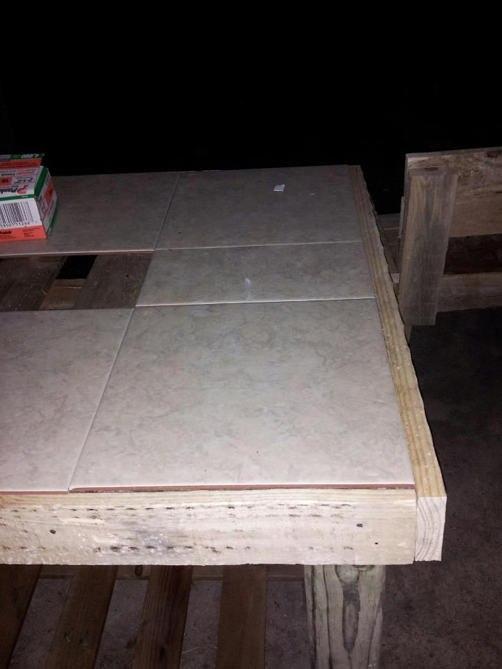 Tile added to top of pallet patio table