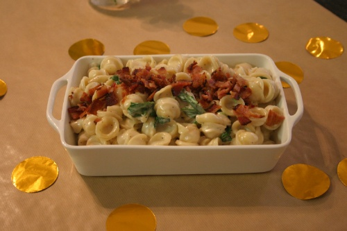 ... cheese, piglet and salad. (orecchiette with fontina, spinach and bacon