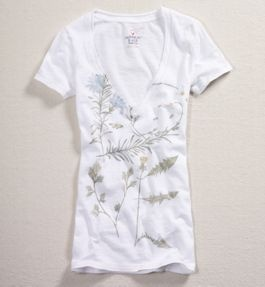 Cute tee! Love the floral illustrations and the lighter colors. $14.95
