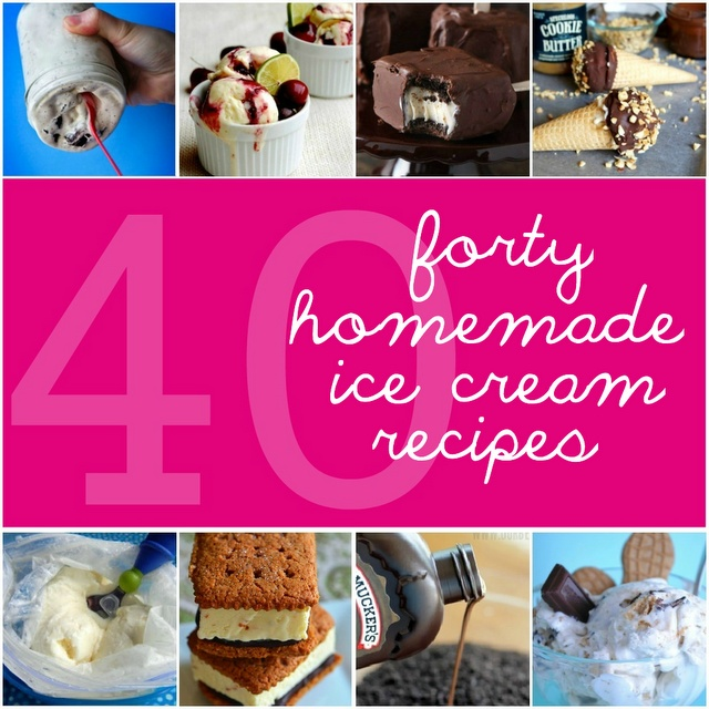 40 Homemade Ice Cream Recipes from Something Swanky.  Can't wait to try a few of these out! #dessert #icecream