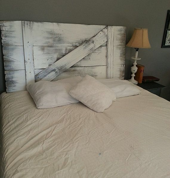 Painted barn door headboard for Painted on headboard