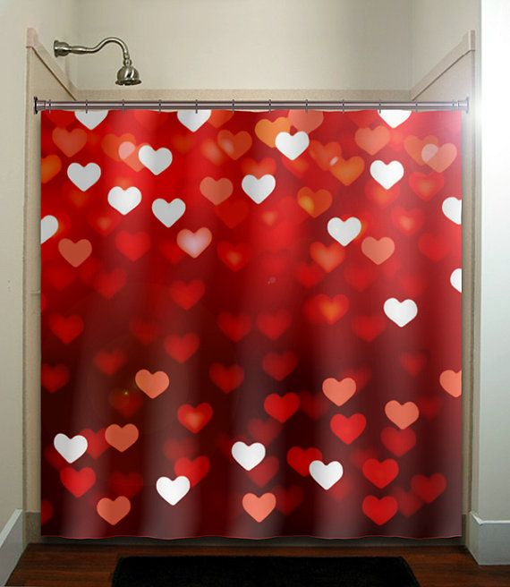 Day romantic love hearts red shower curtain bathroom decor