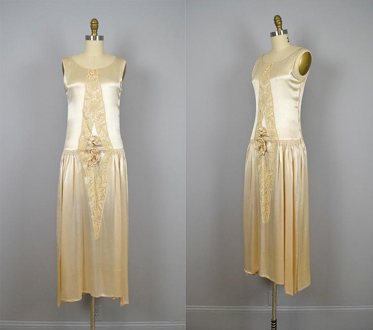 1920s Wedding Dress Vintage 20s Champagne Silk Lace