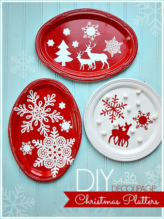 DIY Christmas Decoupage Platter Tutorial at www.the36thavenue.com Let it snow! #MSholiday