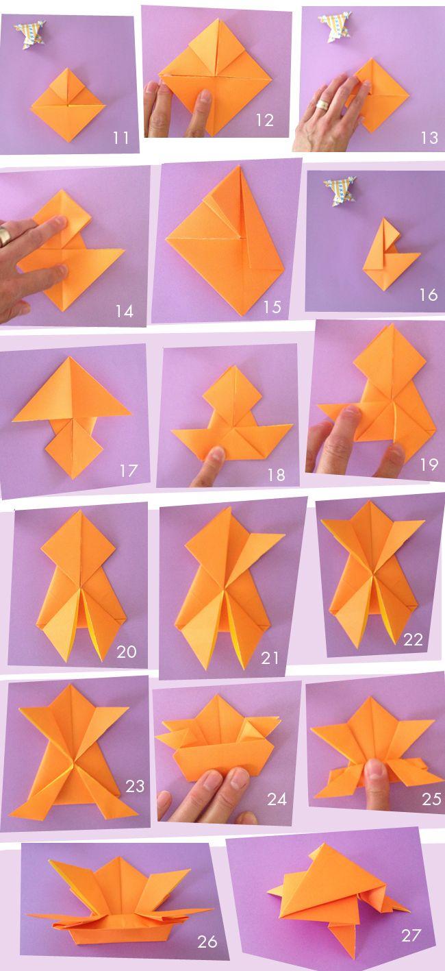 Fiche 2 grenouille origami tutoriel atelier ducation bricolage - Faire grenouille en papier ...