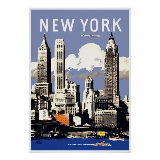 new york city vintage travel poster. Black Bedroom Furniture Sets. Home Design Ideas