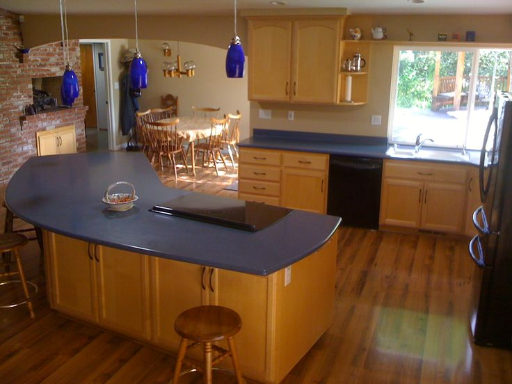 Blue Counter Light Wood Cabinets Kitchen Of The Future Pinterest