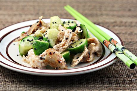 heat, this cucumber and chicken salad with sesame ginger dressing ...