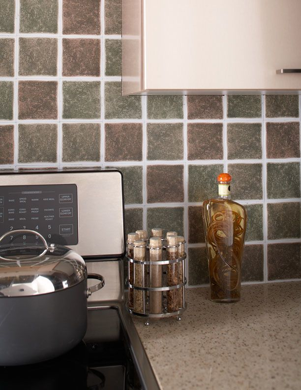 my new backsplash for my kitchen gotta love peel and stick self