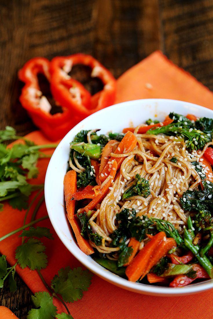 soba noodle salad3 cold soba noodle salad with raw veggie noodles a ...