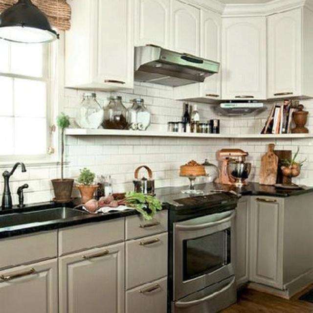 lower cabinets dark, upper light  kitchen ideas  Pinterest